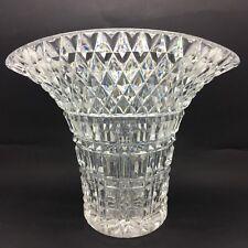 Vintage Deep Cut Lead Crystal Glass Fan Vase with Hatching & Diamond Cut Design