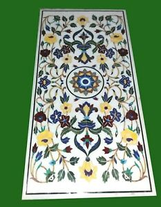 Marble Restaurant Table Top Stone Dining table with Marquetry Art 30 x 60 Inches