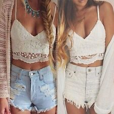 Summer Crochet Tank Tops Sleeveless Lace Vest Blouse Bralette Bra Cami Crop Top