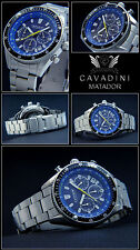 Cavadini Series Matador Men's/Chronograph Azure Blue Rotating Bezel PURE LUXURY