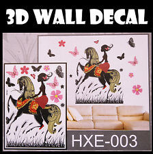 3D Horse Girl Wall Sticker decals Home Decor Decoration Wallpaper Room Art