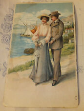 Antique postcard 1912 sweetheart Embossed Harbor Chromo lithograph blank Back