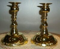 """Christmas Pair of  Shiny Finished Brass Candle Sticks 7"""" tall"""
