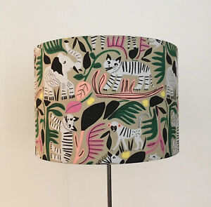 Beautifully Handmade Drum Lampshade In 'Jungle Forest' Fabric By Cloud 9