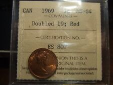 CANADA ONE CENT 1969 DOUBLE 19, ICCS MS-64 FULL RED!!!!!