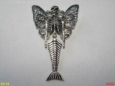 steampunk brooch badge pin butterfly mermaid skeleton dead horror hallowe'en