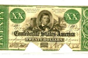 "$20 XX   (GREEN OVERPRINT) 1800'S ""CONFEDERATE"" $20 (XX) VERY RARE!!! CRISPY!!!!"