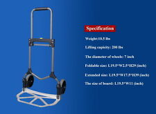 Folding Hand Truck Aluminum Heavy Duty 200lbs capacity Portable
