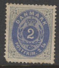 More details for denmark - 1870/74, 2sk deep bright ultramarine & grey stamp - m/m - sg 38