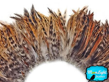 4 Inch Strip - RED CHINCHILLA Strung Rooster Neck Hackle Feathers