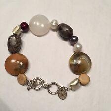 Vtg Agate Moonstone Cinnamon Dyed Fresh Water Pearl Sterling Silver Bracelet