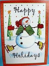 "Large ""Happy Holidays"" Skating Snowman Christmas Porch Flag (28"" x 40"")"