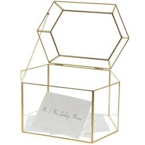 OnDisplay Luxe Gold Frame Glass Wedding Card Box w/Lid - Gift/Money Keep Box