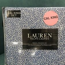 Ralph Lauren Blue White Floral Leaves Cal King Sheet Set 4 ~New~