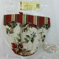 2007 Longaberger Christmas Tree Trimming Basket Liner & Peppermint Stripe Tie-On