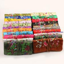 Chinese Silk Jewelry Travel Roll Bag Holder Storage Accessories Organizer Pouch