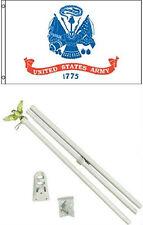 3x5 U.S. Army White Flag w/ 6' Ft White Flagpole Flag Pole kit Eagle