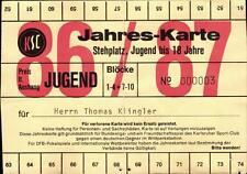 Ticket BL 86/87 Jahreskarte Karlsruher SC, Dauerkarte Wildparkstadion