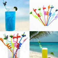 8pcs Dinosaur Plastic Drinking Straws Bar Straws for Kids Birthday Party DecorWG