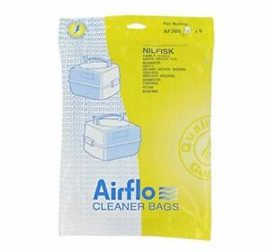 Airflo AF386 Nilfisk GD1000 Canister Paper Bags, 10 Packs of 5 (50 bags)