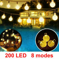 200 - 50 LED Solar Globe Bulb Ball Fairy String Lights Garden Outdoor Waterproof