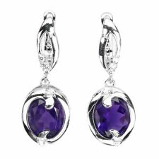 Unheated Oval Amethyst 9x7mm Cz White Gold Plate 925 Sterling Silver Earrings