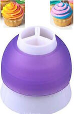 Three tone Double Coupler Color Icing Piping Bag Cupcake Cake Decorating Nozzle