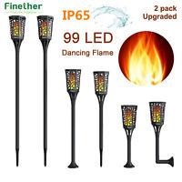 2pcs 99 LED Solar Torch Lights Flickering Dancing Flames Garden Lamp Waterproof
