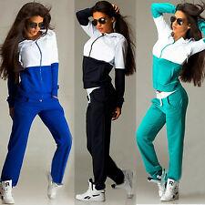 Donna Casual Tuta Zip Felpa sportiva con cappuccio maglia pantaloni 2 pz set