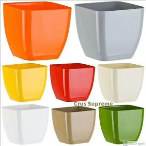 Crus Squared Flower Pots,Many Colours, Plastic Plant Pots Planter