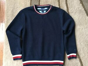 Tommy Hilfiger Boys Navy Blue Red White Sweater Crew Neck Small 8-10