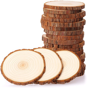 Fuyit Wood Slices 20 Pcs 9-10cm NO Hole Natural Unfinished Log Wooden Circles