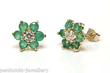 9ct Gold Emerald and CZ cluster Stud earrings Gift Boxed Made in UK Birthday