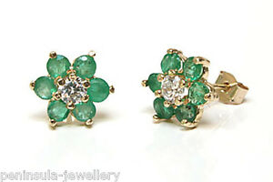 9ct Gold Emerald and CZ Studs cluster earrings Gift Boxed Made in UK Birthday