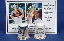 Andy Murray Wimbledon Tennis Champion Ltd Edition Thimble + Photo Cert B/38