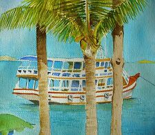 """""""Pattaya Beach""""  Painting Watercolor Original Matted and Framed, Excellent gift"""