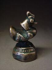ANTIQUE BURMESE SILVER BRONZE AQUATIC 'HINTHA' BIRD OPIUM WEIGHT, 119g. 18th C.