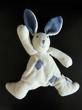 M- DOUDOU PELUCHE BABYSUN  baby sun LAPIN blanc écru patchwork & oreilles bleu