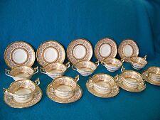 Cauldon, Eng. Gold Encrusted Bouillon TEN Cups & saucers no. 4092