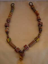 ITALIAN MURANO GLASS BEAD NECKLACE -- WITH AFRICAN  CARVED  BONE  PENDANT