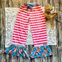 Matilda Jane Pink White Horizontal Striped Blue Floral Ruffle Pants Women's XS
