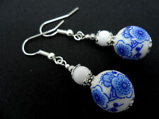 A PAIR OF PORCELAIN FLORAL BEAD  DROP DANGLY EARRINGS. NEW.