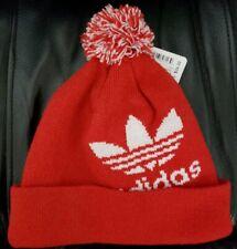 NWT Adidas UNISEX ORIGINALS POM II BALLIE unisex trefoil hat beanie, CL6428 RED