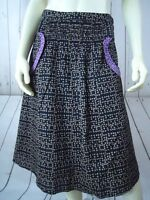 PINS & NEEDLES Skirt 4 Black Taupe Purple Cotton Old World Peasant Pockets BOHO!