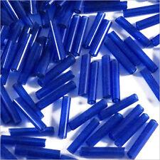 Perles de Rocailles Tubes en verre Transparent 9x2mm Bleu foncé 20g