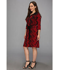 Womens Karen Kane Dress  Size 1X 3/4 Sleeve with Belt Black and Red
