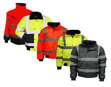 Mens Hi Vis Visibility Viz Bomber Jacket | Waterproof | Work Wear | 2 Tone
