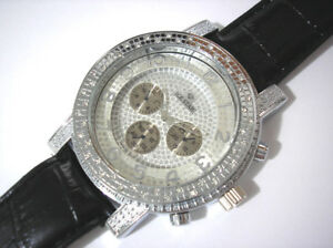 Silver Tone Big Case Leather Band Men's Watch with Crystals # 309