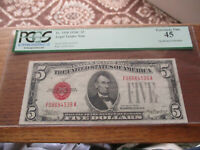 $5 1928C  U.S. Note PCGS 45 Free Shipping!