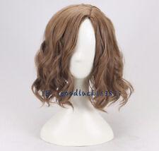 men's brown short wavy curly cosplay wig +a wig cap